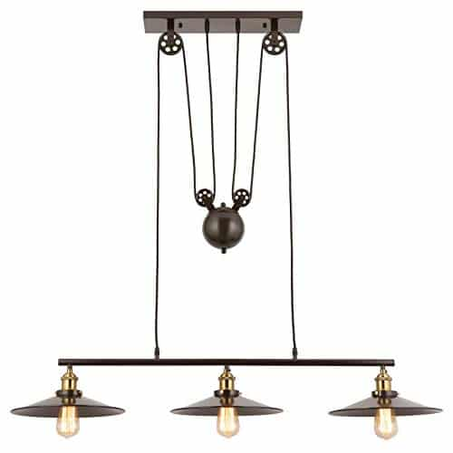 Three Light Chandelier With Pulleys