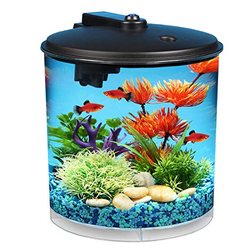 Koller Products AquaView 2 Gallon 360 Fish Tank with Power Filter and LED Lighting