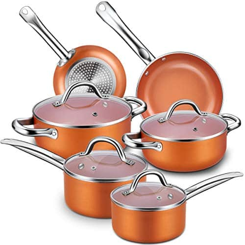 CUSINAID Top Grade Professional 10-Piece Nonstick Cookware Set
