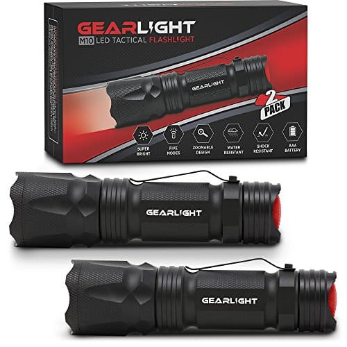 GearLight M10 LED Tactical Flashlight [2 PACK] with Belt Clip - Bright, Small, EDC Flashlights - 5 Modes, Zoomable, Water Resistant, High Lumen, Uses AAA or 18650 - Best Light for Emergency or Camping
