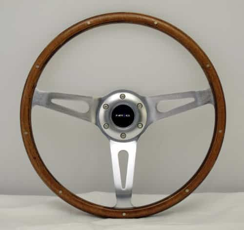 NRG Innovations ST-065 Classic Wood Grain Wheel with Metal Accents (365mm, 3 spoke center in Polished Aluminum)