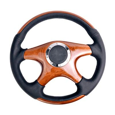 NRG Innovations ST-085 Classic Grain Accents 350mm 4 spoke center in wood, leather wheel