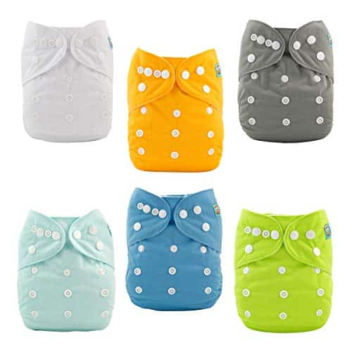 ALVABABY Baby Cloth Diapers One Size Unisex 6 Pack with 12 Inserts