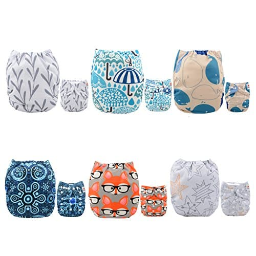 ALVABABY Pocket Cloth Diapers Reusable One Size for Baby Boys and Girls, 6 Pack with 12 Inserts