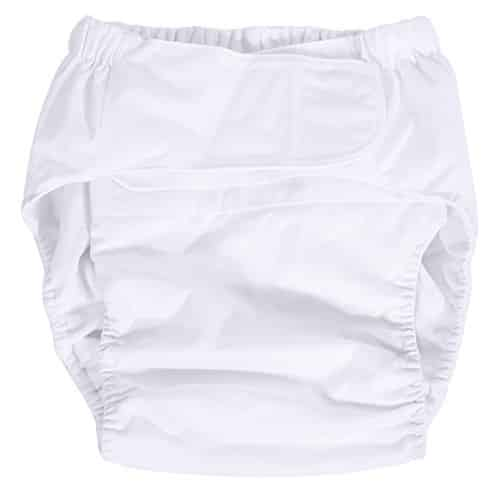 Adult Pocket Diaper Adjustable Cloth Nappy Pant Washable Reusable Diaper Pants for Incontinence Care in white