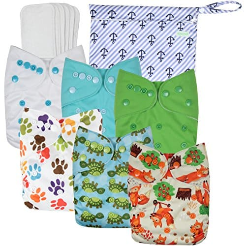 Wegreeco Washable Reusable Baby Cloth Pocket Diapers 6 Pack + 6 Bamboo Inserts (with 1 Wet Bag, Neutral Prints)