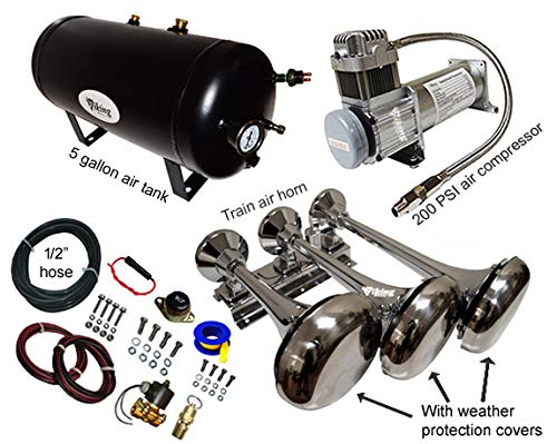 150DB Train Air Horn Kit (4 Trumpet Train Horn Kit)